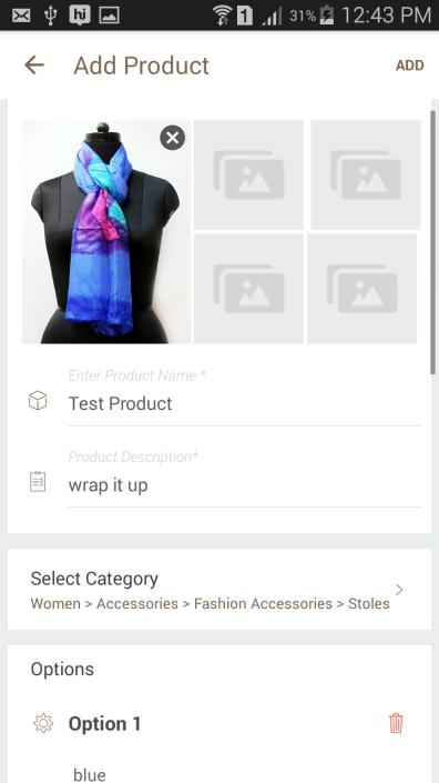 Enter product details like name, description, attributes like color, size. Also, choose appropriate category